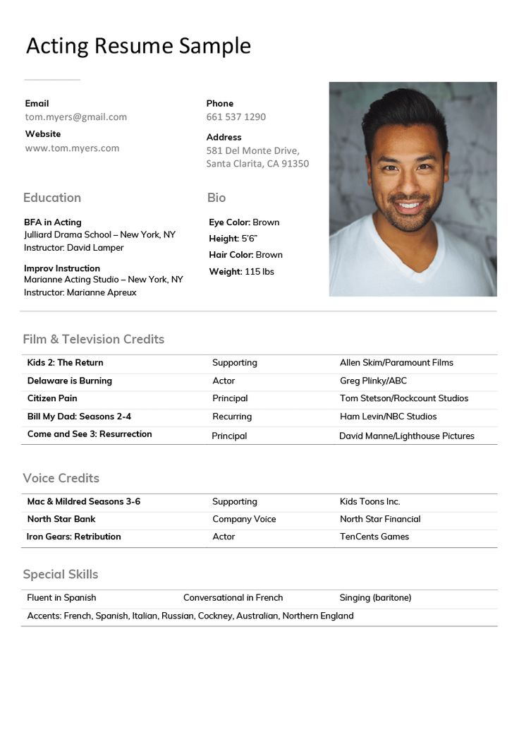2020 Acting Resume Example in 2020 Acting resume, Acting