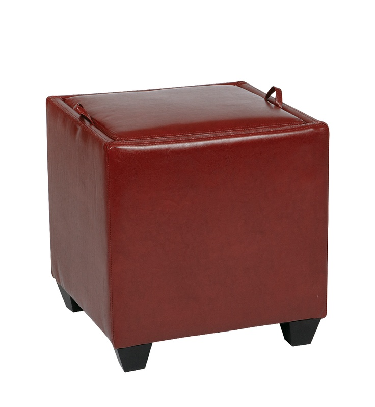 Storage Ottoman with Tray in Crimson Red $119