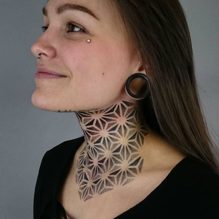 Artist @deryntwelvetattoo  Finished this asanoha neck tattoo on beautiful Amelia…