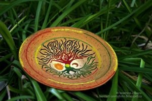 tree of life plate - hand painted clay pots