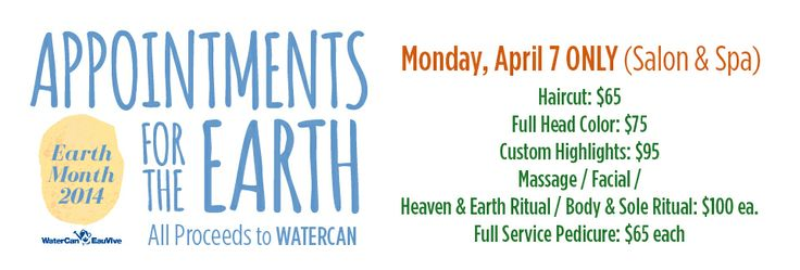 Make sure you book your Appointment for Earth to benefit WaterCan on April 7. #swizzlesticks #salonspa #yyc