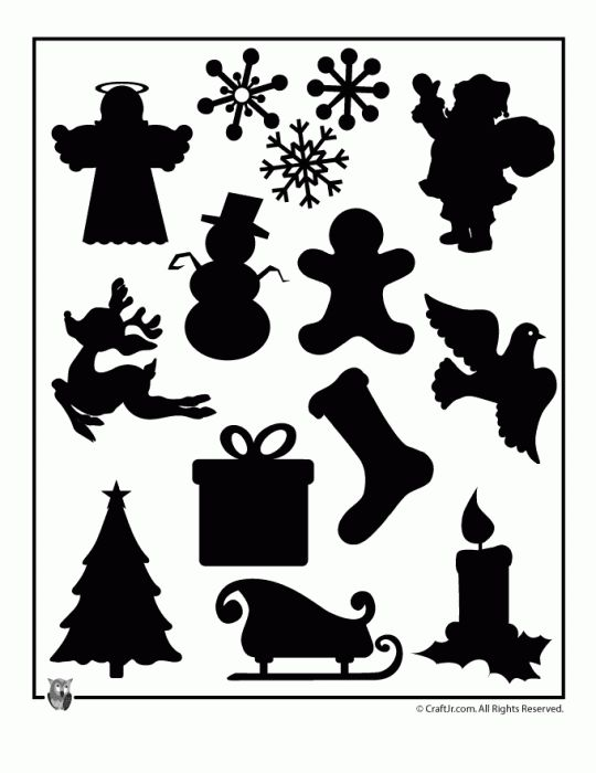 Christmas Shape Silhouettes to Print, I love these I just dont have a vision of how to use them yet