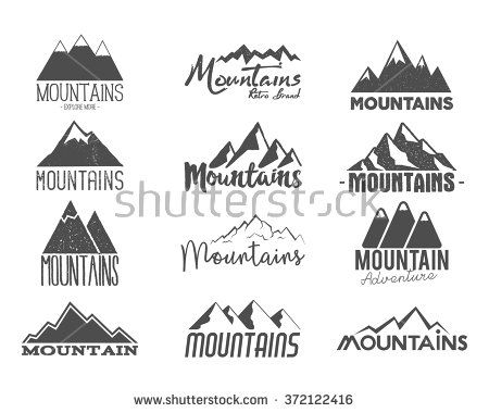 Set of Hand drawn mountains badges. Wilderness old style typography labels. Letterpress Print Rubber Stamp Effect. Retro mountain logo designs. vector Inspirational vintage hipster brand design.