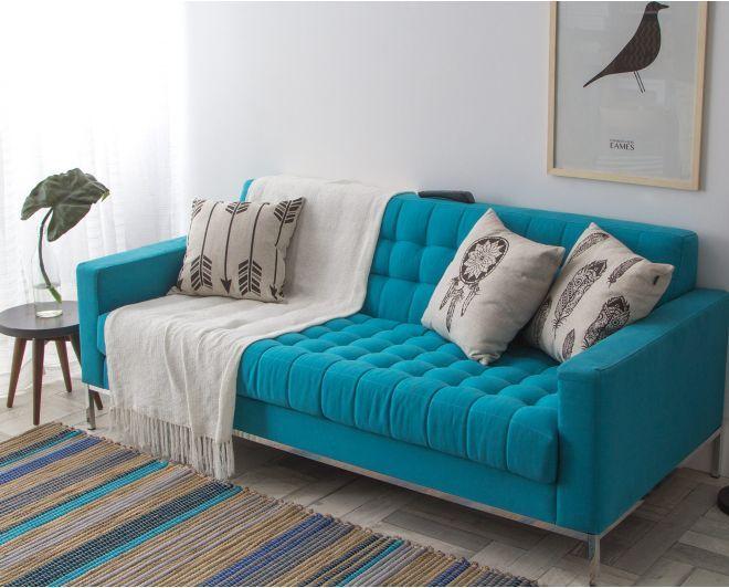 Sala De Estar Cinza E Turquesa ~  turquesa quarto azul sofá turquesa casa praia sala de estar