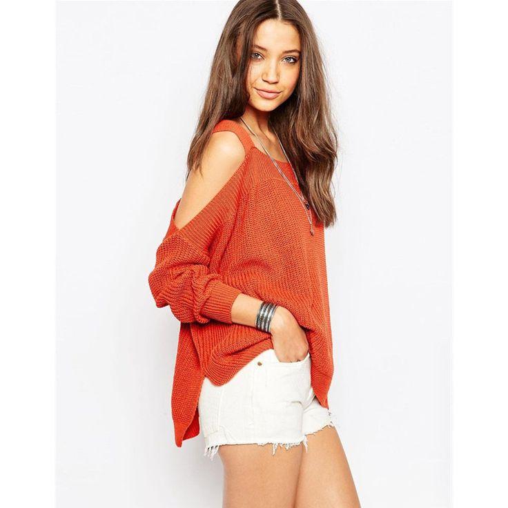 Charlee Cooper Orange Off Shoulder Strappy Batwing Sleeve Loose Sweater