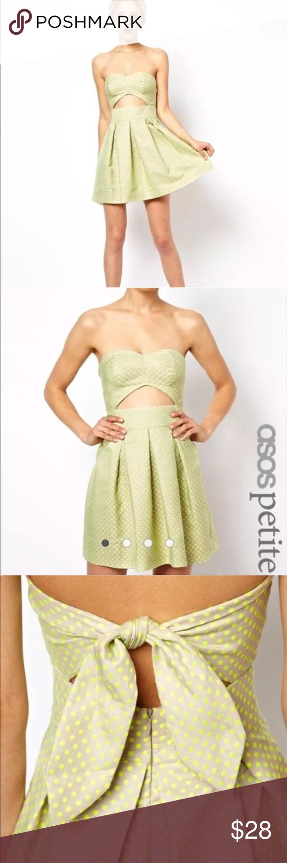 Asos Petite Polka Dot Cut Out Skater Dress Green Asos Petite Polka Dot Cut Out Skater Dress A Line Tie Back Neon Green Beige US 2. Some fading and wear on embroidery   Bust: 17 Waist: 12 Length: 24 ASOS Petite Dresses Strapless
