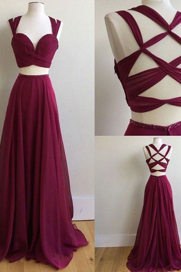 Two Piece Square Sweep Train Criss-Cross Straps Burgundy Chiffon Prom Dress, prom dresses 2017, 2 pieces maroon prom party dresses.