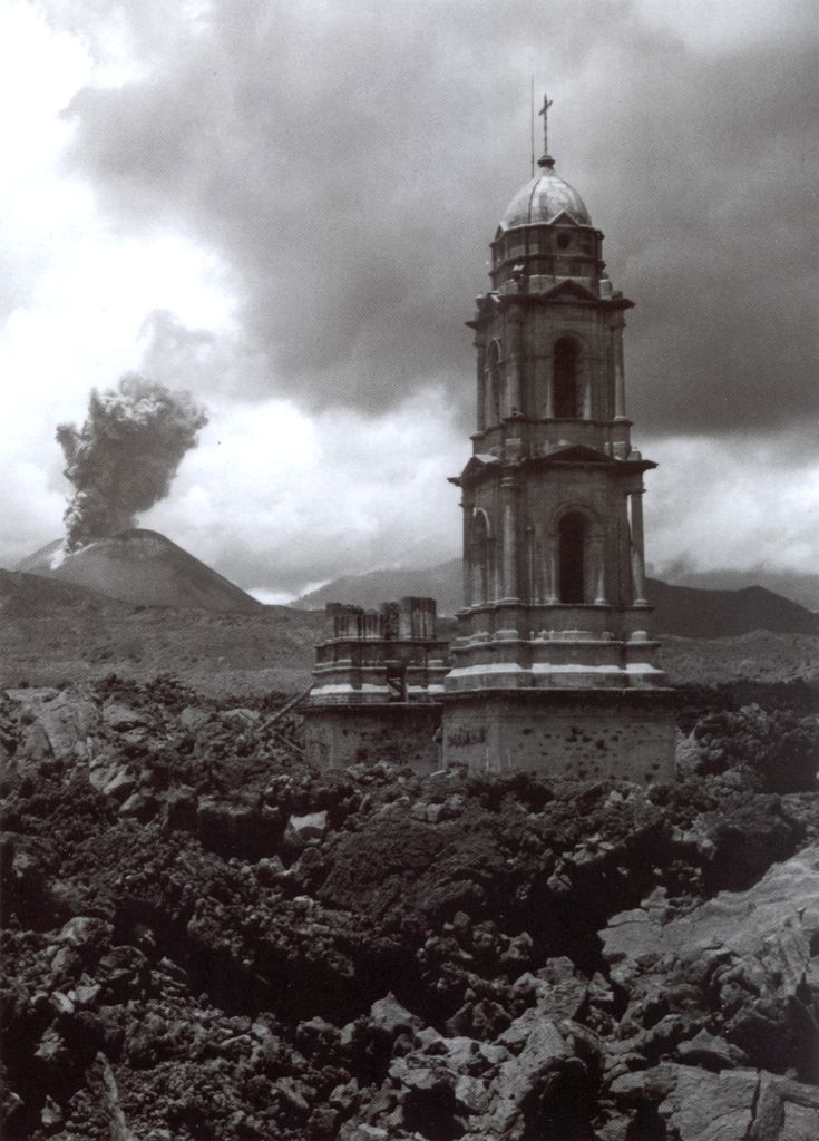 "Juan Rulfo, ""Paricutin volcano and the church of Parangaricutiro buried by the lava, Mexico,"" 1945"
