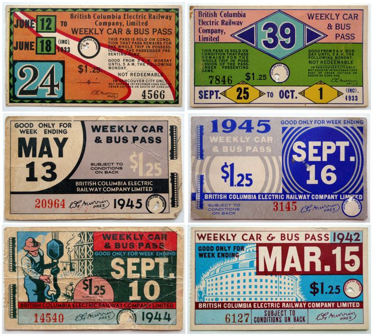 Retro rad! BC Electric Weekly passes, circa 1933-1947.