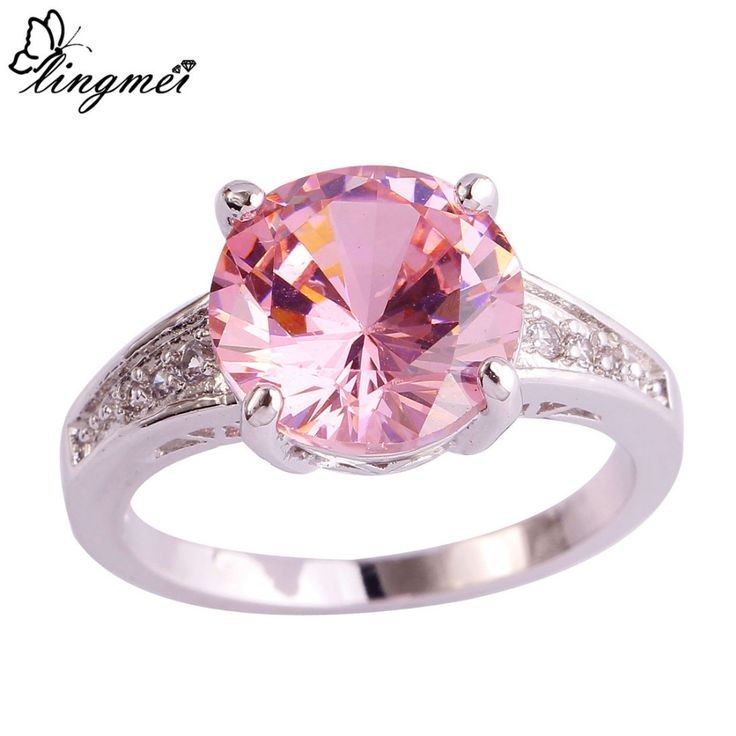 Round Cut Engagement Pink & White Topaz AAA Silver Ring //Price: $9.99 & FREE Shipping //     #hashtag3