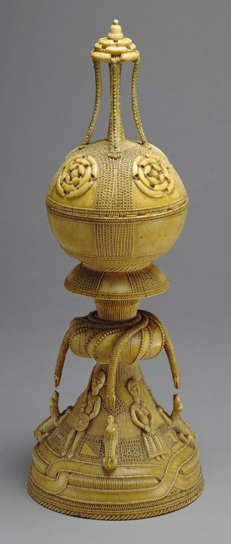"""medievalpoc: """" Artist Unknown Lidded Saltcellar Sierra Leone (15th-16th century) Sapi-Portuguese Ivory H. 11 ¾ in. (29.8 cm) """"  Ivories from the west coast of Africa were for the most part the first African artifacts brought back to Europe through..."""