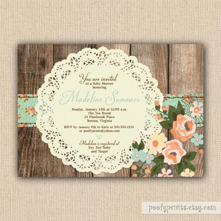 Rustic Shabby Chic Baby Shower Invitations - DIY Printable Baby Shower Invitations. $24.00, via Etsy.