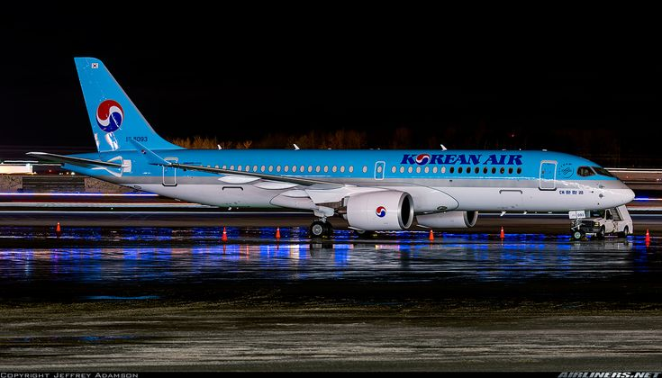 Korean Air Bombardier CSeries CS300 HL8093 overnighting at Anchorage-Ted Stevens International, December 2017. Anchorage was a stopover during the aircraft's delivery flight. (Photo: Jeffrey Adamson)