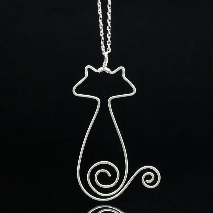 Collar de plata esterlina gato pandant Anni a por AnniDesignsllc