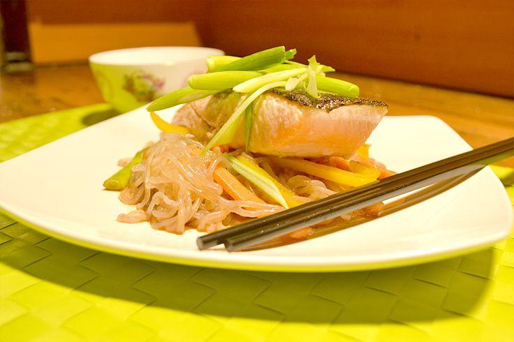 Teriyaki Salmon, Ginger with Noodles
