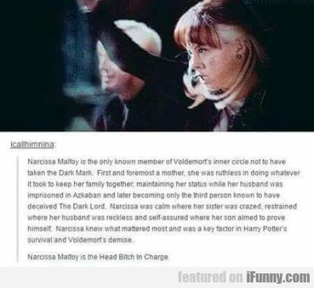 I love Narcissa, I think she just has so much unwritten ...