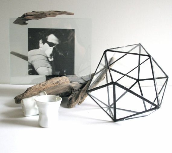 ICOSAHEDRON TERRARIUM (MEDIUM) //Hand made stained glass// Worldwide delivery//Perfect for terrarium// Gift wrap available