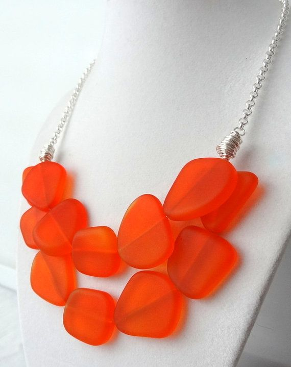 Tangerine Orange Sea Glass Statement Necklace with by cjsseashop