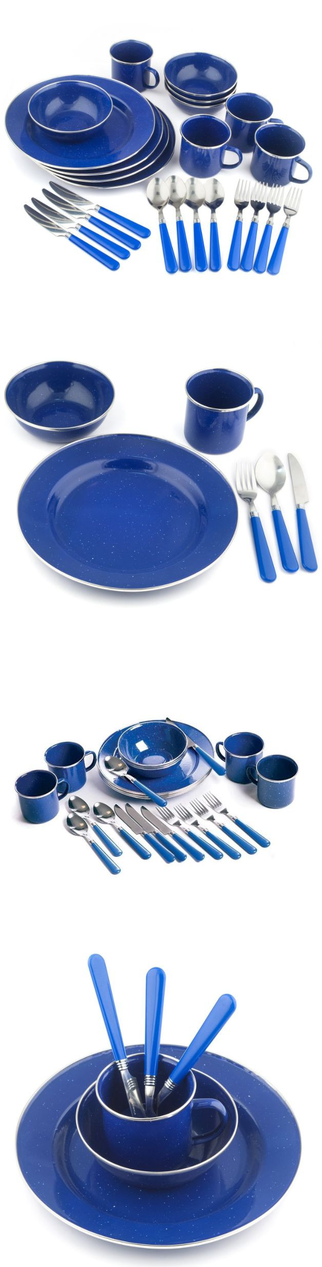 Outdoor Tableware 181383: Outdoor Dinnerware 24 Pc Blue Enamel Camping Picnic Tableware Set Service For 4 -> BUY IT NOW ONLY: $42.99 on eBay!
