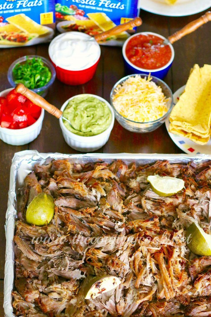 Crock Pot Carnitas, Slow Cooker, Mexican, Pork, Shredded Pork, Cinco de Mayo, Dinner, Supper, The Country Cook, Southern, Recipes, Potluck, Taco, Tortilla, Ortega, Fiest Flats