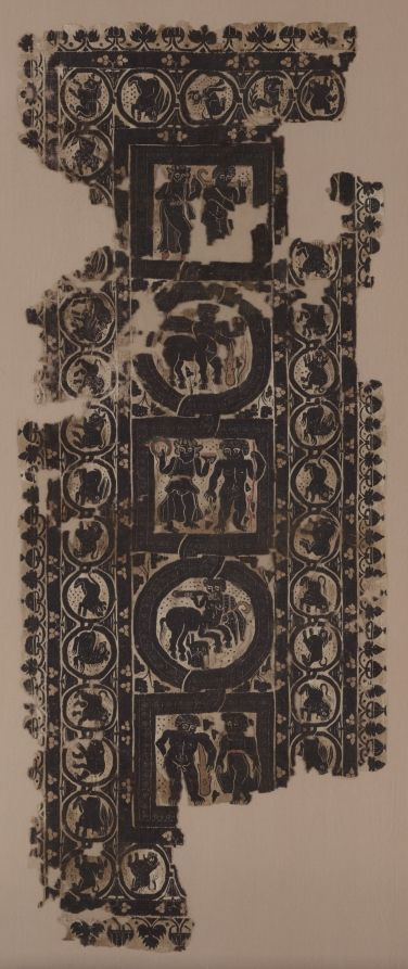 Curtain Panel with Scenes of Merrymaking, 500s Egypt, Byzantine period, 6th Century tapestry weave with supplementary weft wrapping; undyed linen and dyed wool, Overall: 144.20 x 26.70 cm (56 3/4 x 10 1/2 inches).
