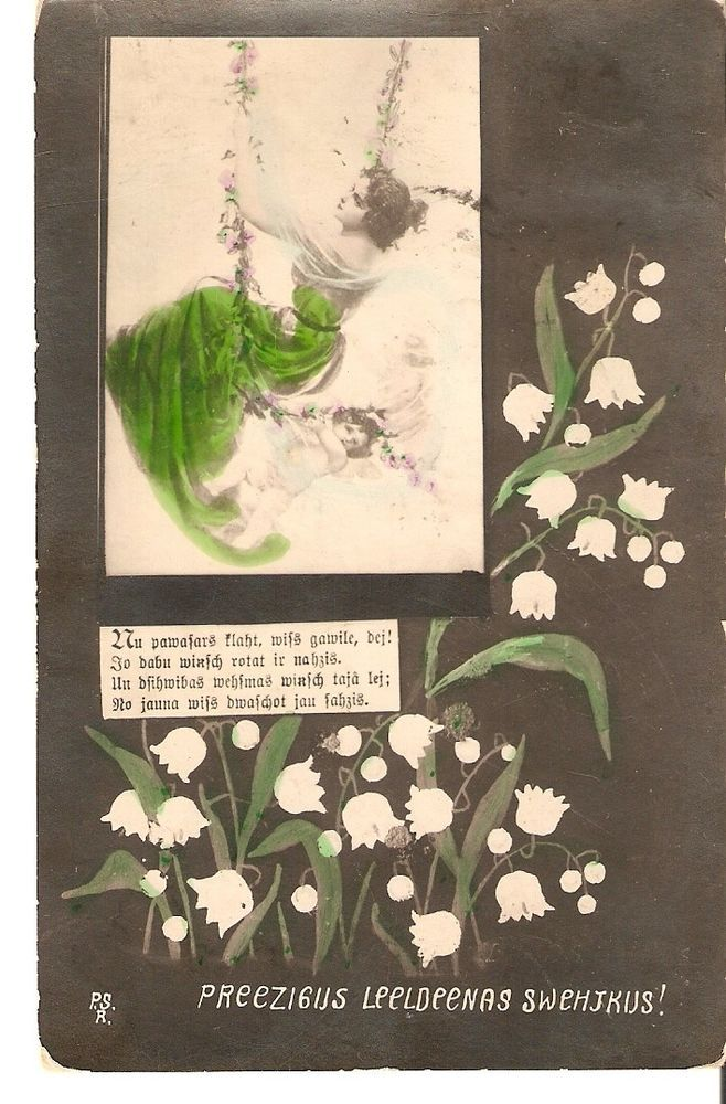 carte postale photo teintée Lettonie Leonar PSR Joyeuses Pâques femme ange mugue