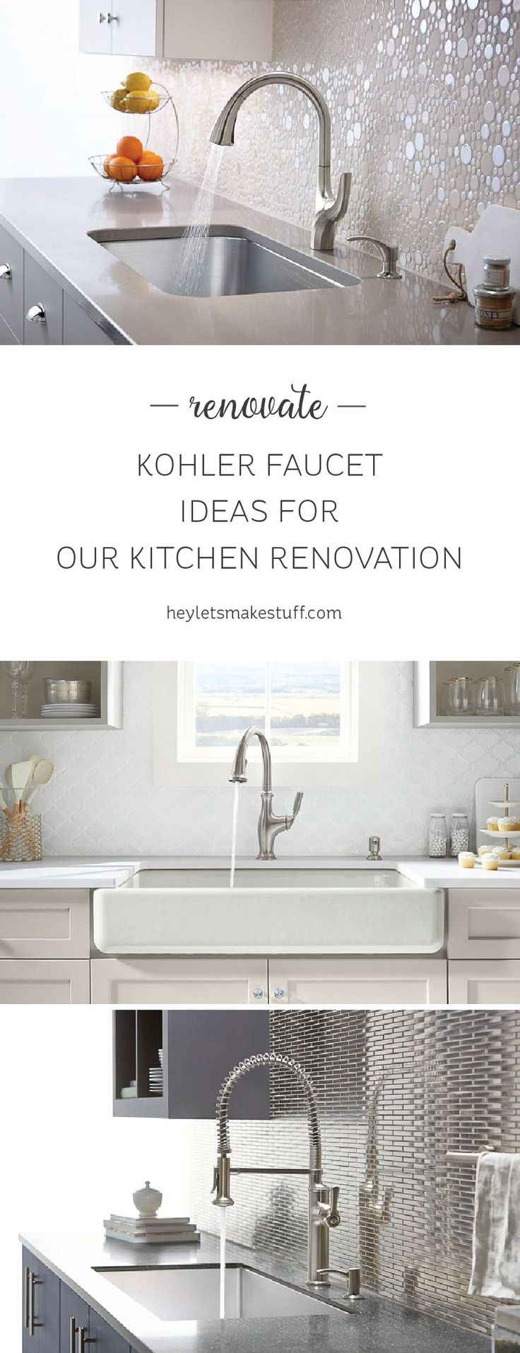 Thanks to Kohler, we're planning our kitchen renovation and today I'm talking faucets! Here are three of the Kohler faucets we're thinking about getting. #ad