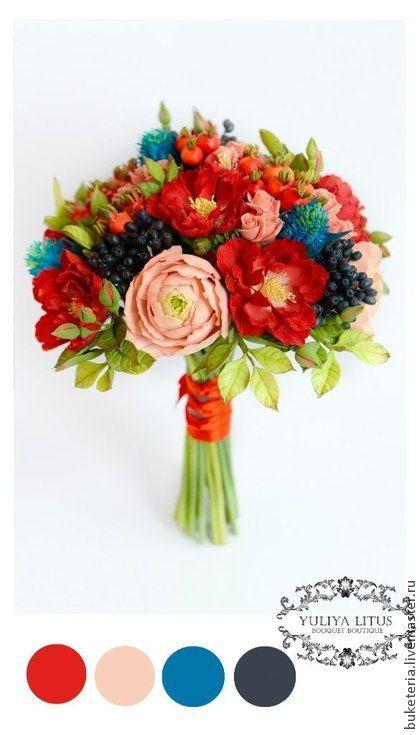 Букет невесты из полимерной глины с ягодами. Букет невесты из Японской полимерной глины CLAY CRAFT BY DECO. Состав букета: ранункулюсы, цветы шиповника, ягоды шиповника, ягоды калины, чертополох, садовая роза Букет невесты из полимерной глины можно дополнить…