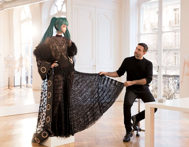 Hatsune Miku in Givenchy Haute Couture with the designer, Riccardo Tisci, at the house's Paris studio.