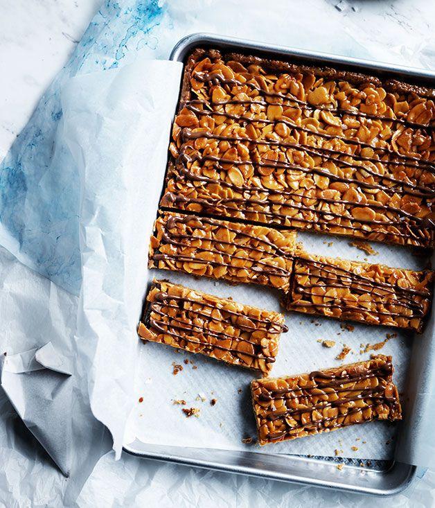 Honey-caramel almond slice