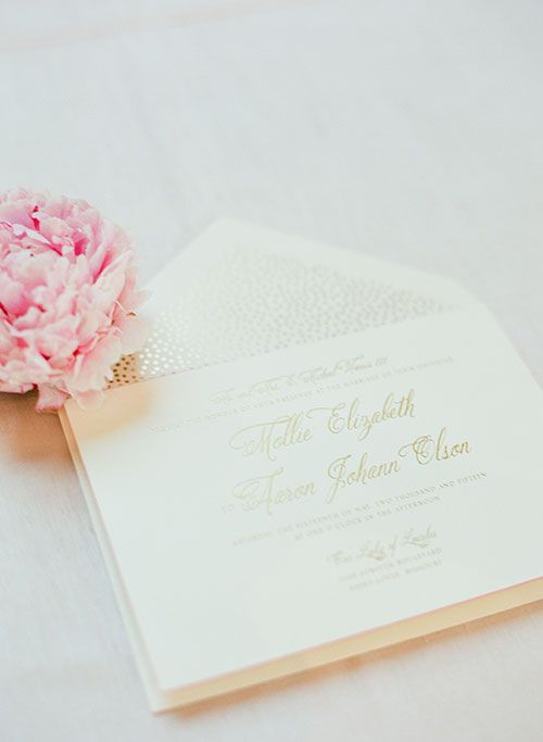 A Romantic Spring Wedding In St. Louis. Gold Wedding InvitationsWedding  PaperWedding ...