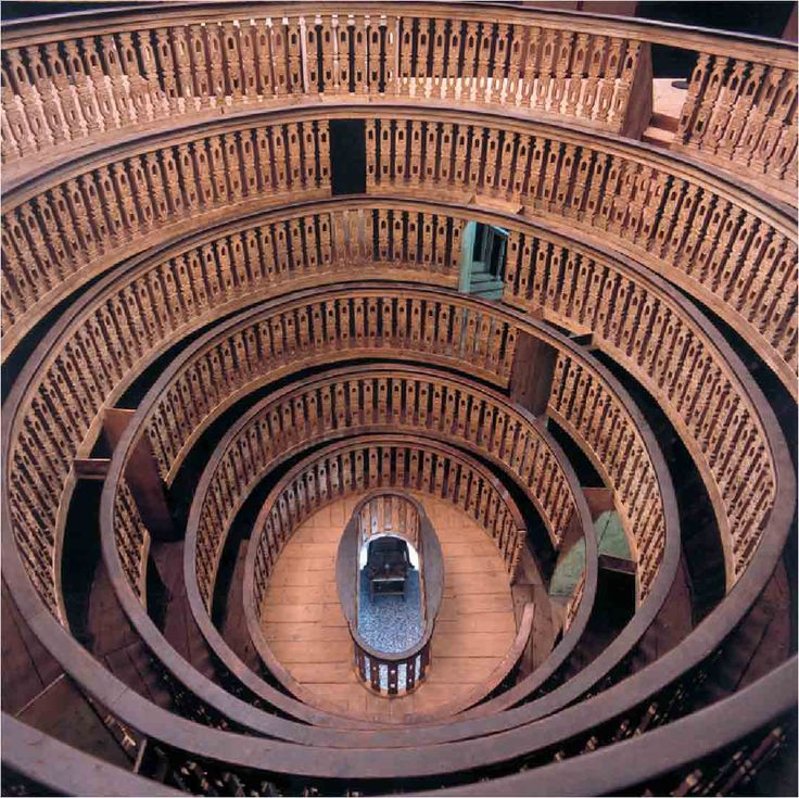 The anatomical theater - University of Padua.  Built in 1594, it was the first in Europe.  The tiers of seats allowed students to see the dissection without others blocking the view.