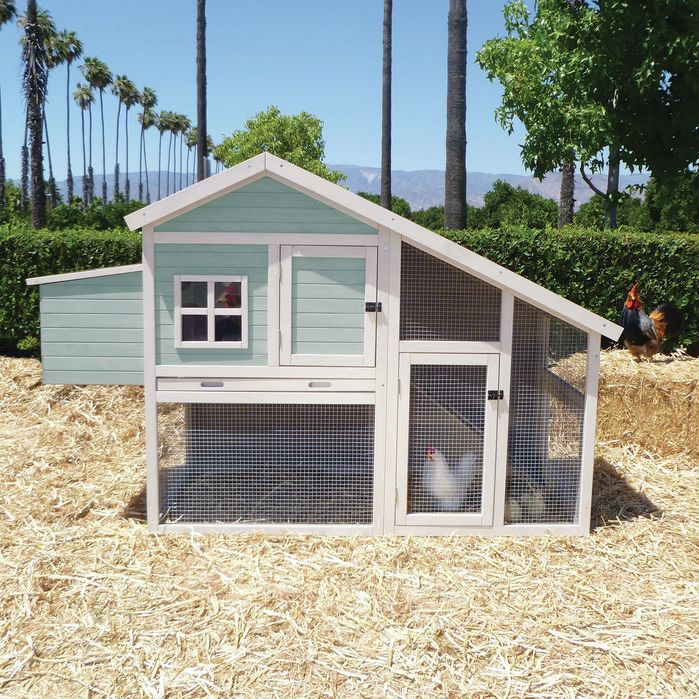 Features:  -Easily connect additional pens (sold separately) for a larger living space.  -Includes nesting box with roosting bar.  -Made from wood houses up to 4 chickens or rabbits.  -Ramp for multi-