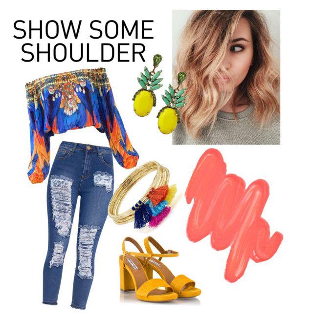 """Shoulder-less Salsa🍍"" by bianca-lee-jardim on Polyvore featuring Obsessive Compulsive Cosmetics, Fratelli Karida, Banana Republic and Aqua"