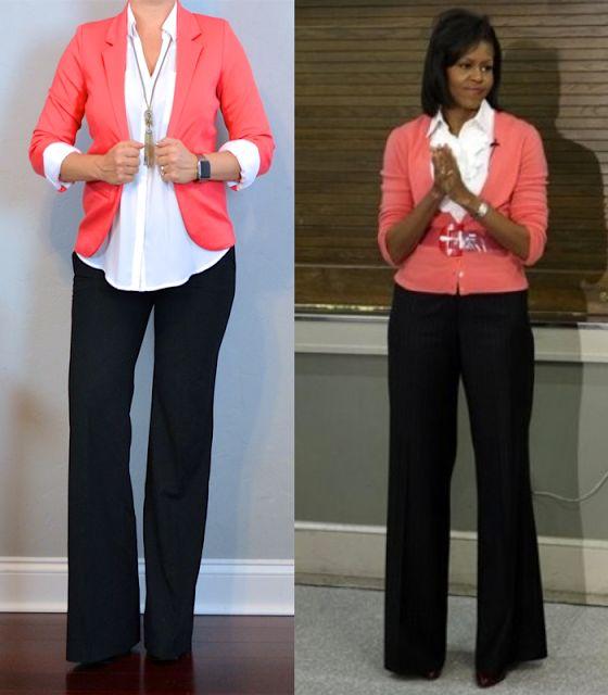 outfit post: coral blazer, white portofino shirt, black pants,...