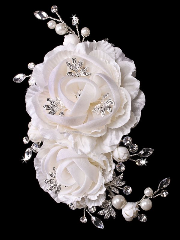 Pearl and Rhinestone Hair Flower