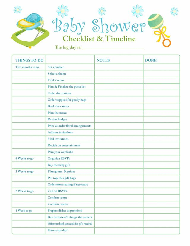 baby shower planning check list