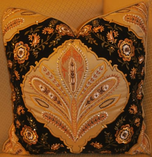 Embellished and hand embroidered cushion