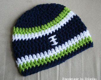 Crochet Football Hat, Football Beanie, Baby Football Hat, Seattle Seahawks Hat