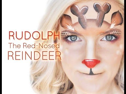 Rudolph the Red Nosed Reindeer Face Painting Tutorial