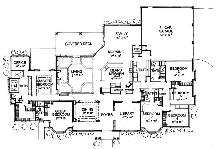 Floor Plans Aflfpw04553 1 Story New American Home With 6