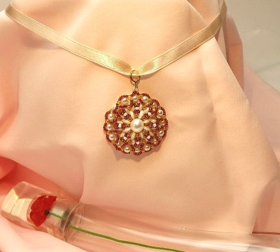 FREE SHIPPING White and gold wedding pendant OOAK by Mamyblue, $30.00