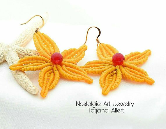 Hey, I found this really awesome Etsy listing at https://www.etsy.com/listing/526788498/macrame-micro-macrame-earrings-flower