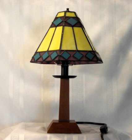 SOUTHWESTERN TABLE LAMP in Stained Glass by StainedGlassandPens
