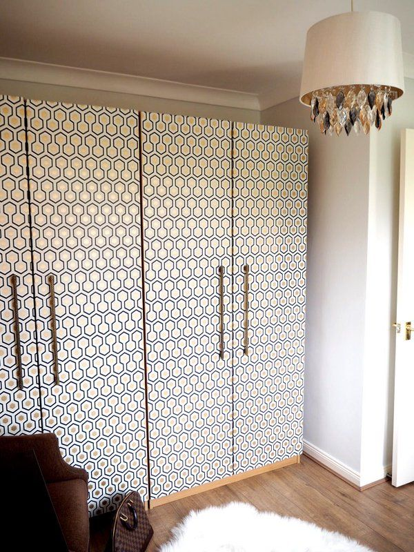 "This quick and easy IKEA hack will require minimum effort but is guaranteed to have big impact. With brand new Cole and Son Hicks' Hexagon wallpaper on the classic PAX wardrobe, it is guaranteed to make everyone go ""WOW!!"" read more on the blog www.seasonsincolo... #boudoir #makeuproom interiors interior styling makeover IKEA HACK, PAX upcycle"