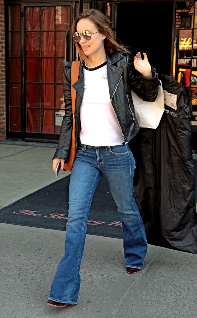Olivia Wilde from The Big Picture: Today's Hot Pics  The Vinyl actress takes a cue from her HBO show, as she leaves her New York hotel in a leather jacket and flared jeans.
