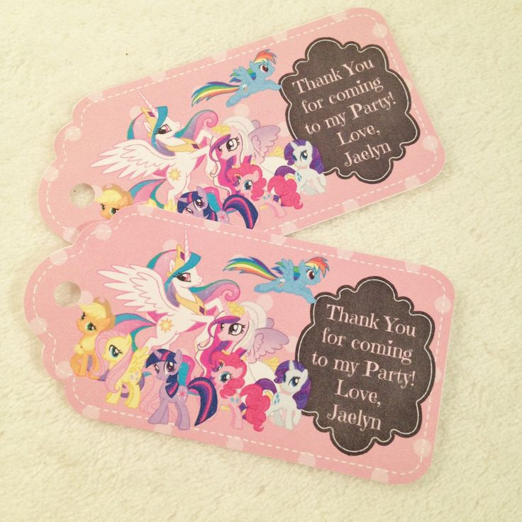 10 - My Little Pony Personalized Party Favor Gift Tags Birthday Party Favor Pink My Little Pony Party Supplies by MichelleAndCompany on Etsy