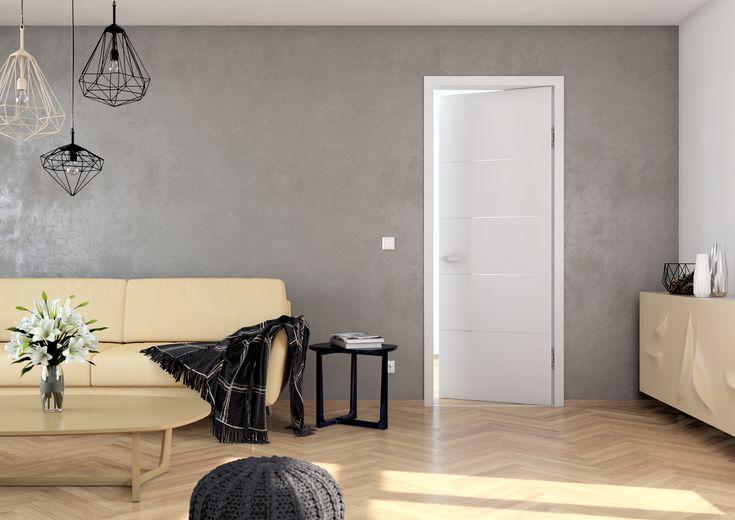 Moderní interiérové dveře Sapeli - LOTOS barva bílá reverzní