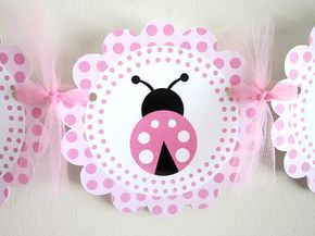 Pink Ladybug Banner, Pink Ladybug Baby Shower Banner  by CraftyCue