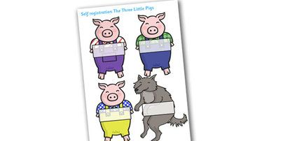 Twinkl Resources >> Editable Self Registration Labels (The Three Little Pigs)  >> Classroom printables for Pre-School, Kindergarten, Primary School and beyond! Self registration, Three little pigs, register, editable, labels, registration, editable, labels, registration, childs name label, printable, traditional tales, fairy tale, pigs, wolf, little pigs,